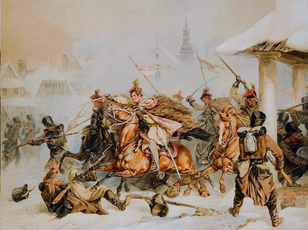 Powstanie krakowskie okazało się kompletnym niewypałem. Na ilusracji obraz Juliusza Kossaka Szarża krakusów na Rosjan w Proszowicach 1846 (domena publiczna).