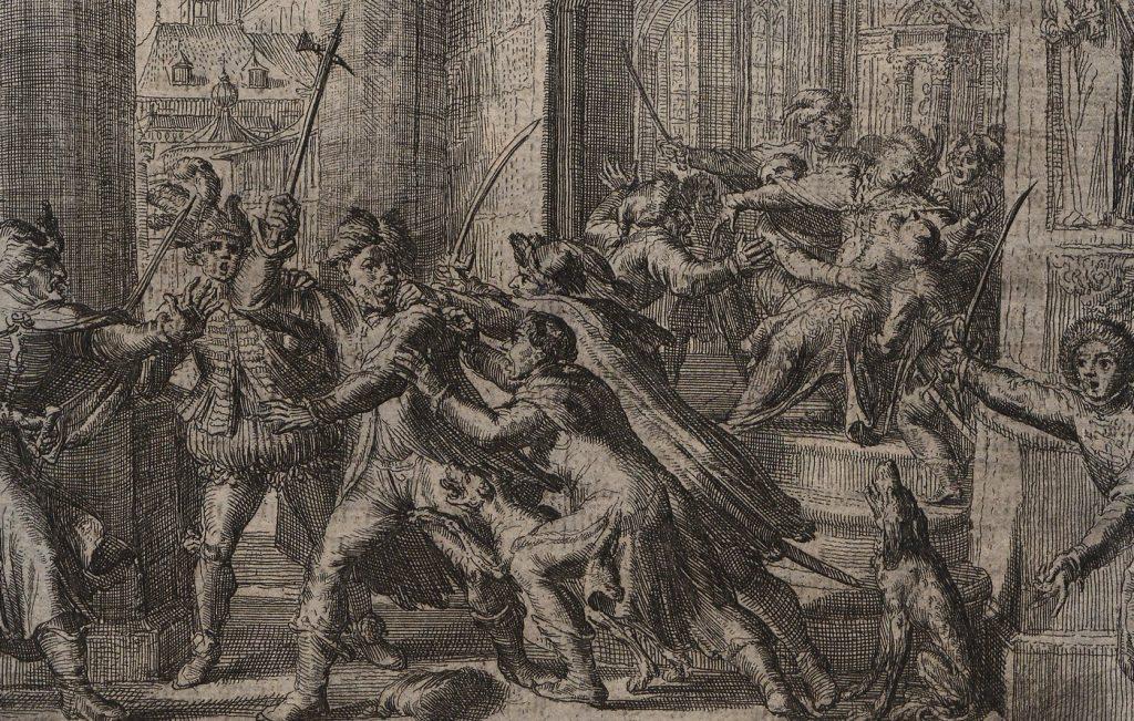 Rycina z XVII wieku przedstawiająca Piekarskiego na króla (domena publiczna),