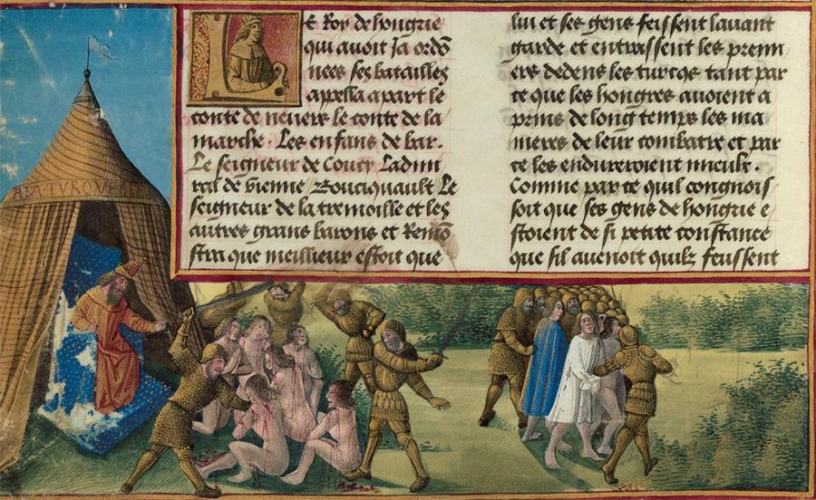 Rzeź jeńców pod Nikopolis. Miniatura XV-wieczna.