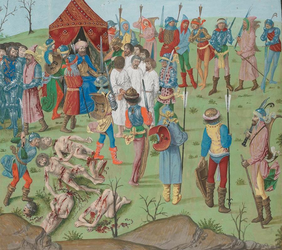 Rzeź jeńców pod Nikopolis. Miniatura z XV wieku.
