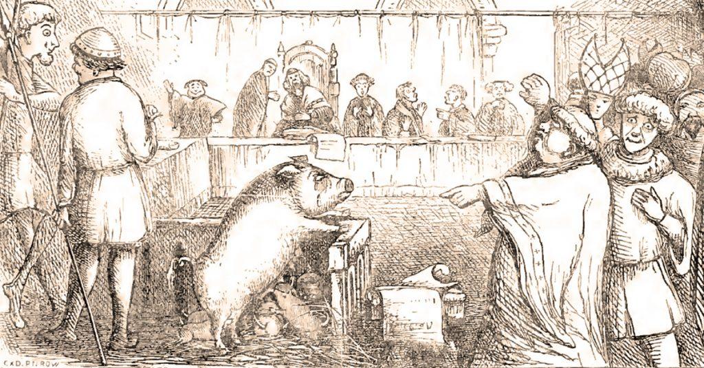 Średniowieczny proces świni w wyobrażeniu rysownika z XIX stulecia.