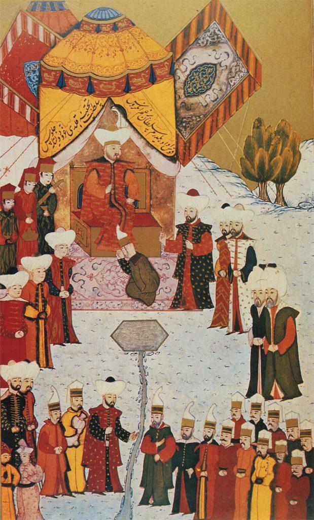 Sułtan Bajazyd I Błyskawica na XV-wiecznej tureckiej miniaturze.