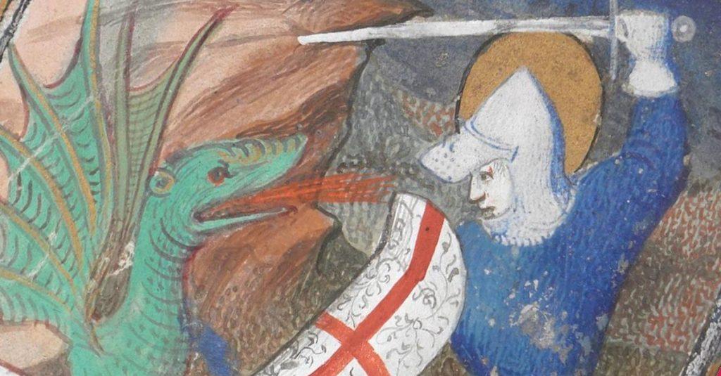 Święty Jerzy w walce ze smokiem. Fragment francuskiej miniatury z początku XV wieku