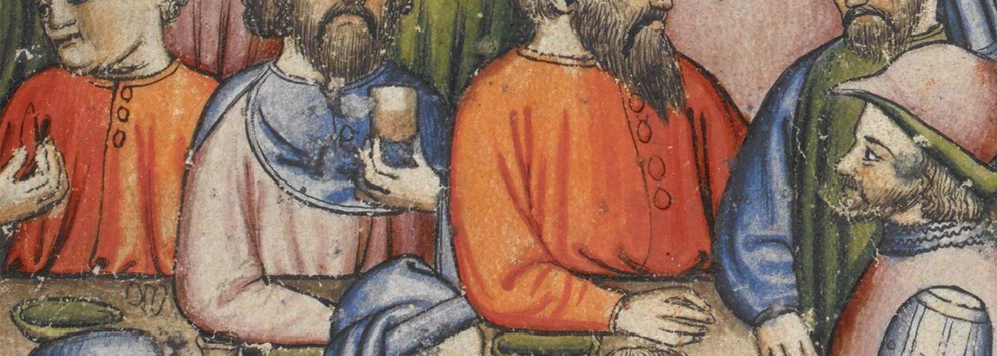 Uczta na włoskiej miniaturze z ok. 1400 roku.