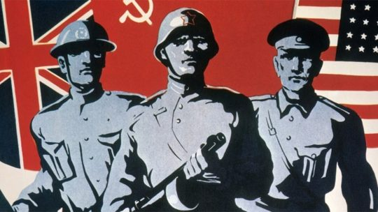 Współpraca aliantów na sowieckim plakacie propagandowym
