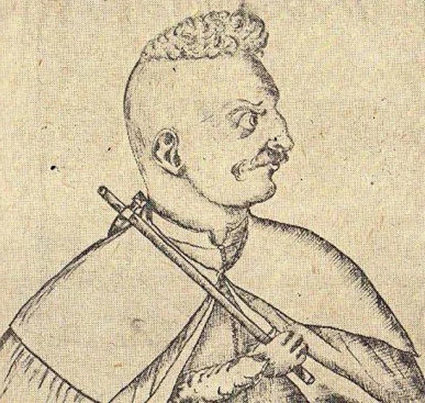 XVII-wieczna rycina przedstawiająca najprawdopodobniej Michała Piekarskiego i jego nadziak (domena publiczna).