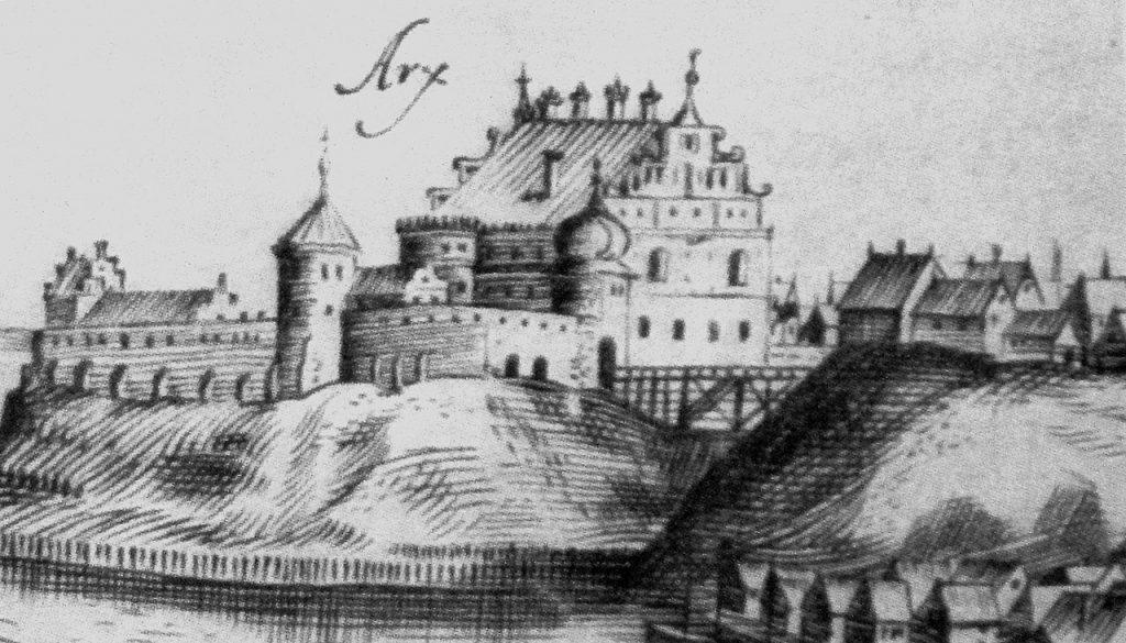 Zamek w Grodnie na rycinie z około 1600 roku (Tomasz Makowski domena publiczna).