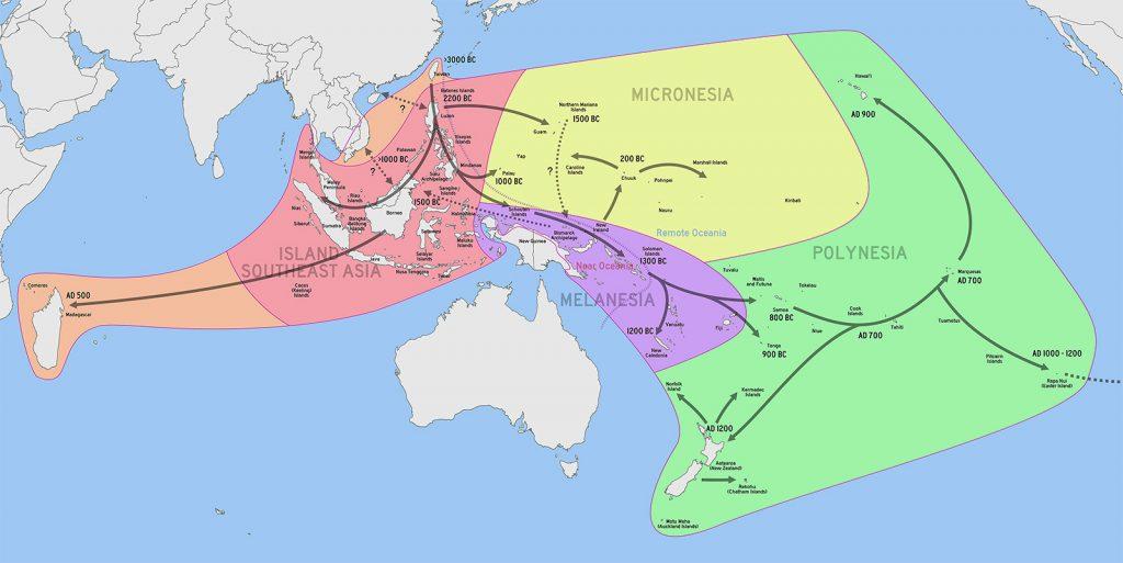 Zasięg kolonizacji malajsko-polinezyjskiej