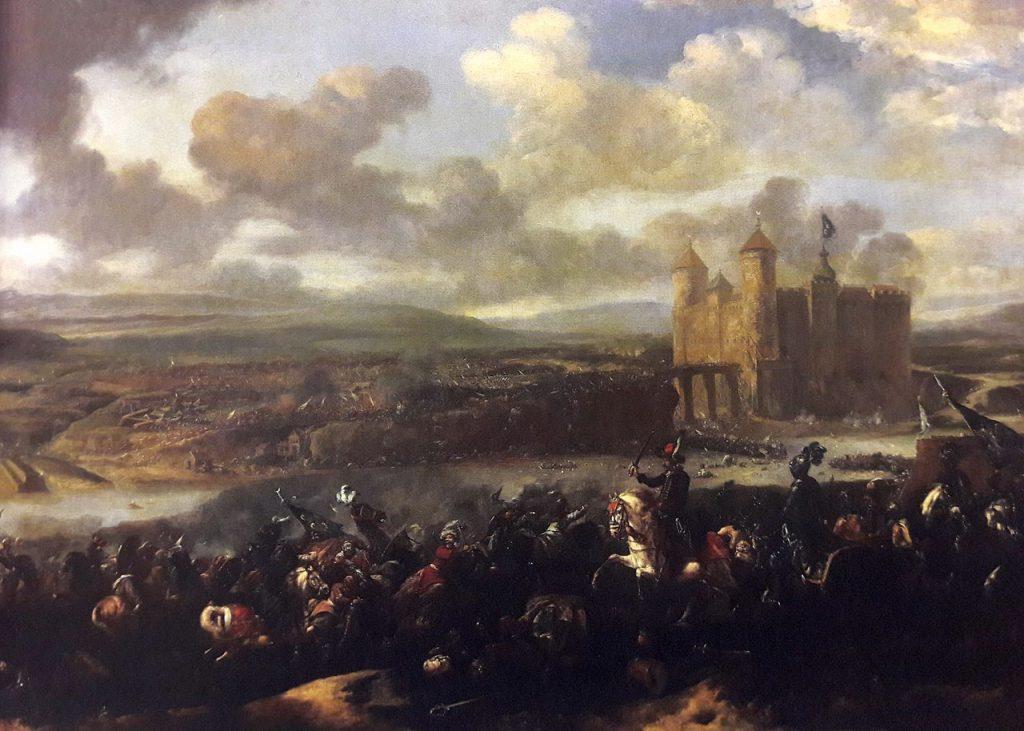 Bitwa pod Chocimiem na obrazie Jana van Huchtenburgha. Został on namalowany około dwa lata po batalii (domena publiczna).