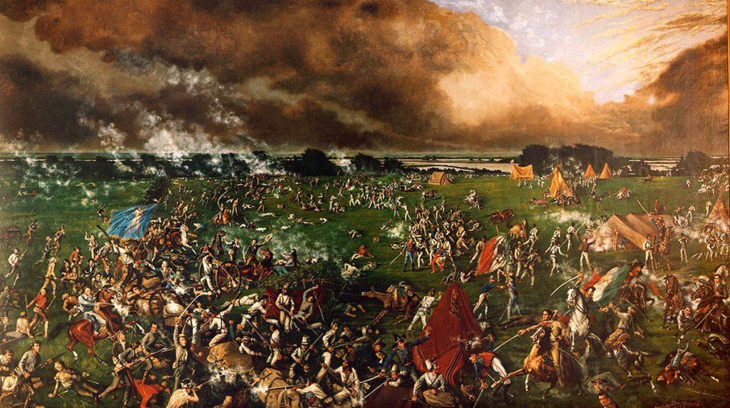 Bitwa pod San Jacinto na obrazie Henry'ego Arthura McArdle'ego (domena publiczna).