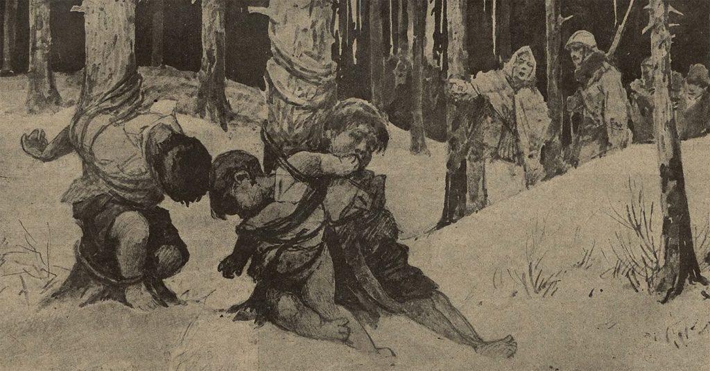 Dręczone dzieci. Ilustracja z przedwojennego czasopisma Nowości Illustrowane