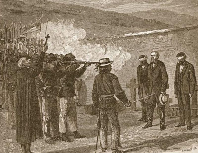 Egzekucja pułkownika Fannina na rysunku Alfreda Wauda (domena publiczna).