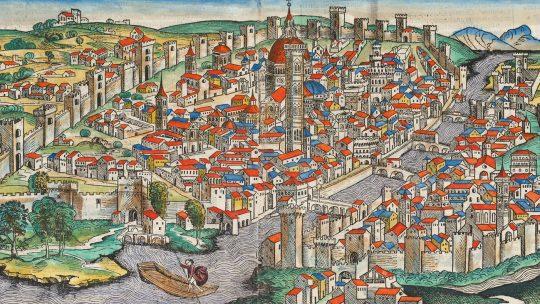 Florencja na mniaturze z Kroniki Norymberskiej. Rok 1493.