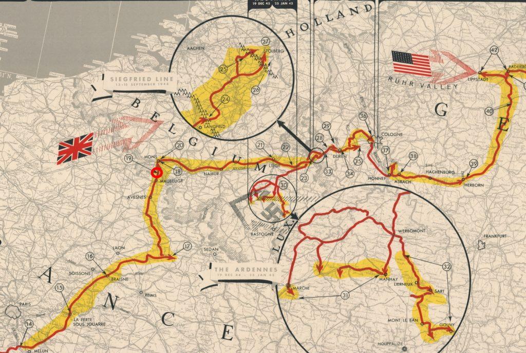 Fragment planu przedstawiającego szlak bojowy 32. pułku pancernego. W czerwonym kółku miejsce stoczonej w dniach 2 i 3 września 1944 roku bitwy z próbującymi wyrwać się z okrążenia Niemcami (domena publiczna).