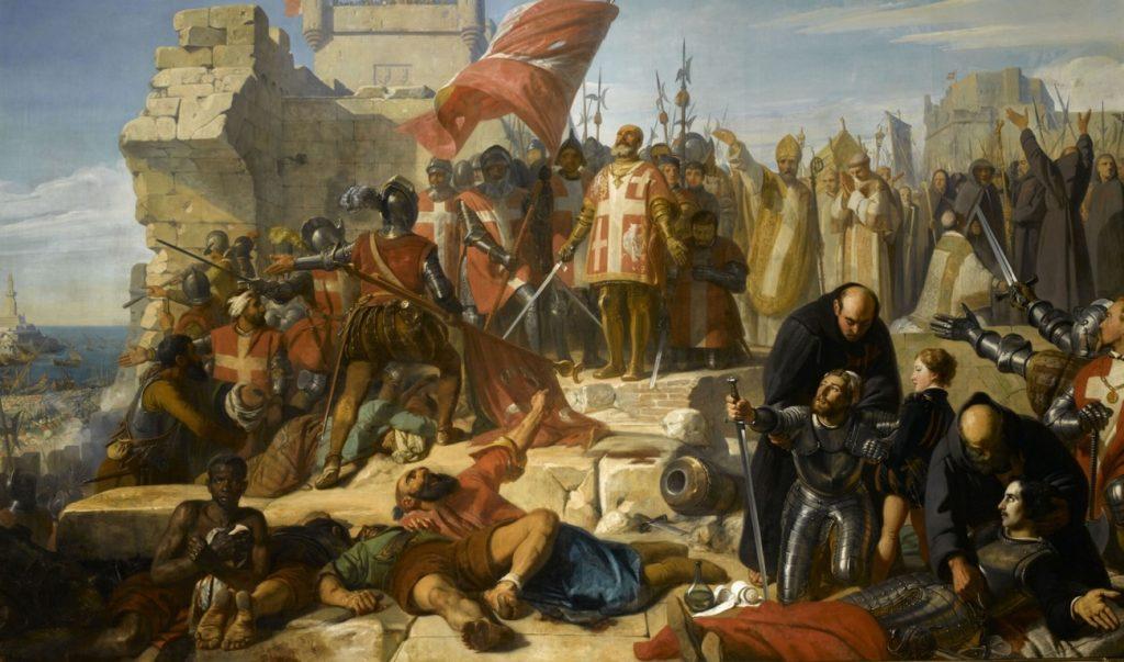 Koniec oblężenia Malty na obrazie Charlesa-Philippe'a Larivière'a (domena publiczna).