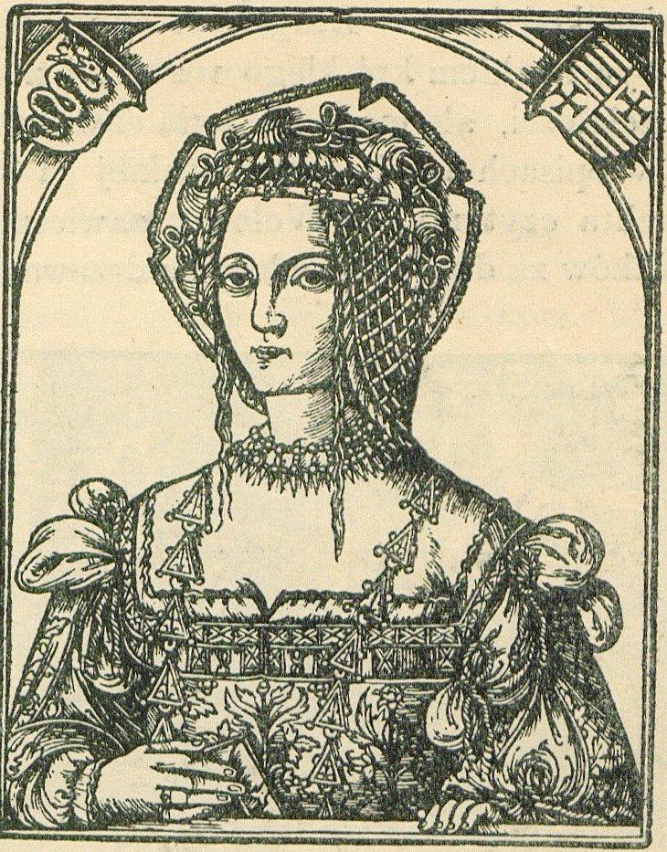 Królowa Bona według drzeworytu z 1521 roku (domena publiczna).