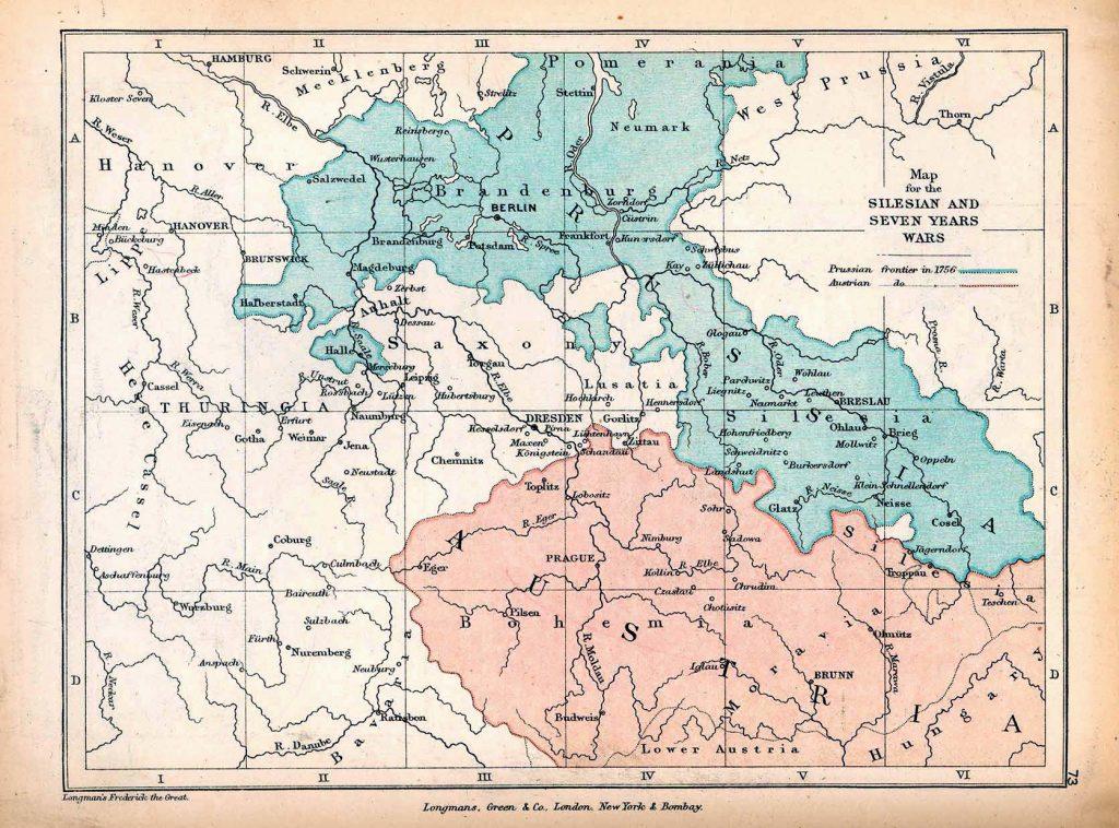 Mapa Prus i Austrii po wojnach śląskich.