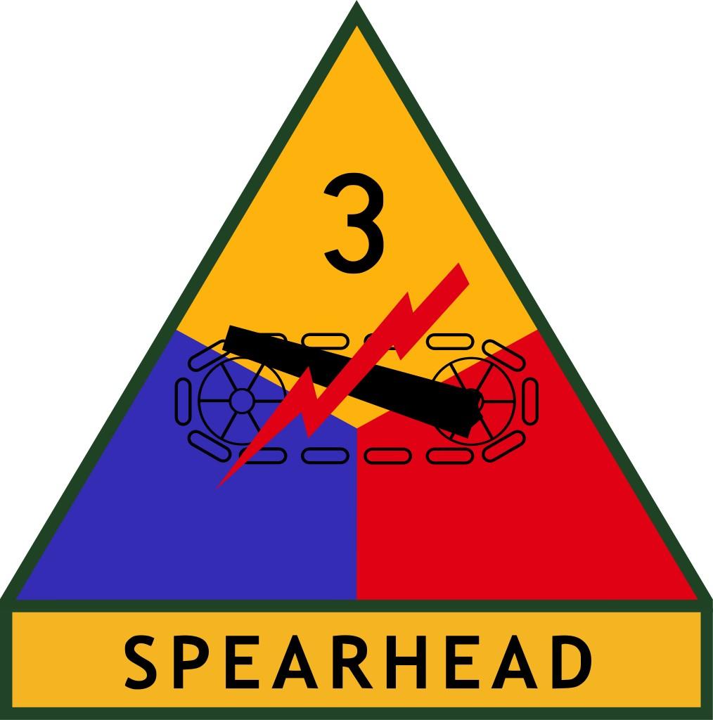 Naszywka amerykańskiej 3. Dywizji Pancernej, w której szeregach służył Clarence'a Smoyer (domena publiczna).