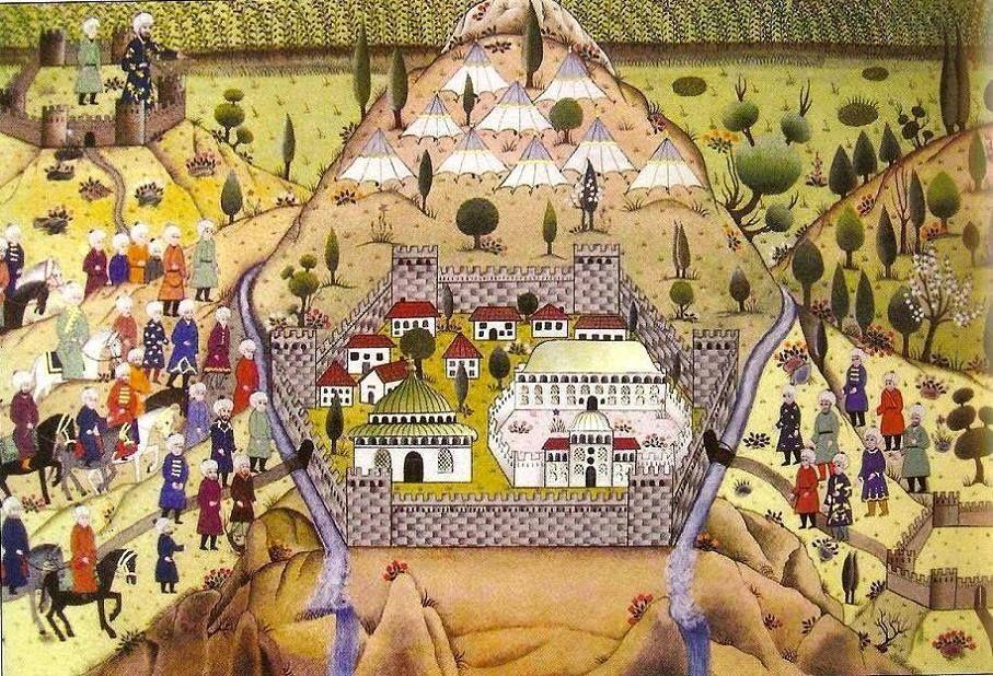 Oblężenie Brusy w 1326 roku na tureckiej miniaturze.
