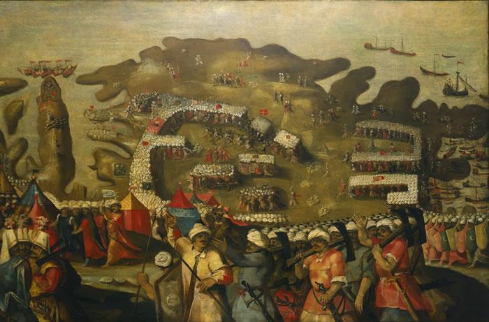 Fresk przedstawiający oblężenie Malty autrostwa XVI-wiecznego malarza Mattea Pereza d'Aleccio (domena publiczna).