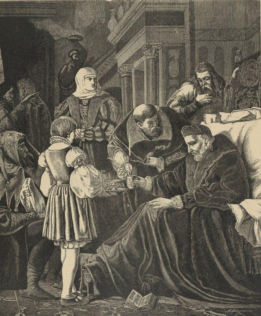 Ostatnie chwile Zygmunta Starego na rysunku Bronisława Abramowicza (domena publiczna).