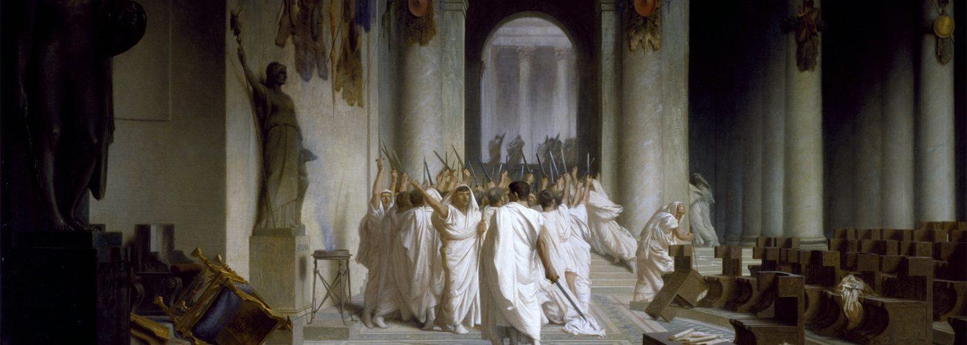 Pierwsze chwile po zamachu na Cezara. Obraz Jeana-Léona Gérôme.