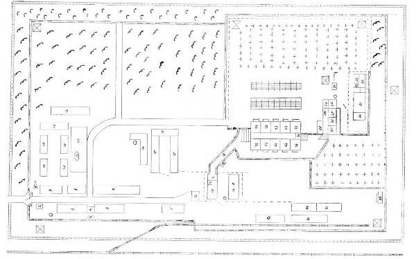 Plan obozu zagłady w Treblince (Treblinka II) przygotowany w 1946 roku