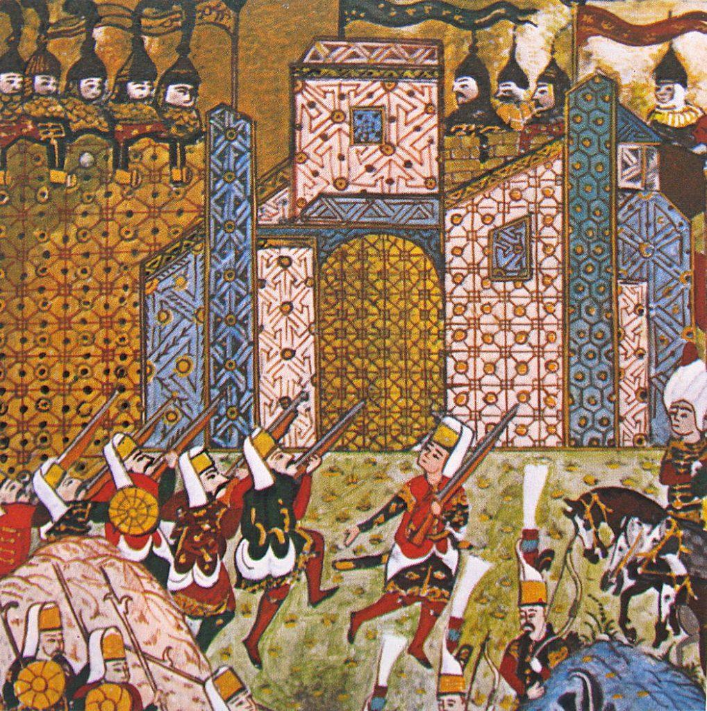 Po zdobyciu Rodos Sulejman pozwolił ocalałym joannitom opuścić wyspę. Powyżej oblężenie Rodos według XVI-wiecznego tureckiego manuskryptu (Fethullah Çelebi Arifi/domena publiczna).