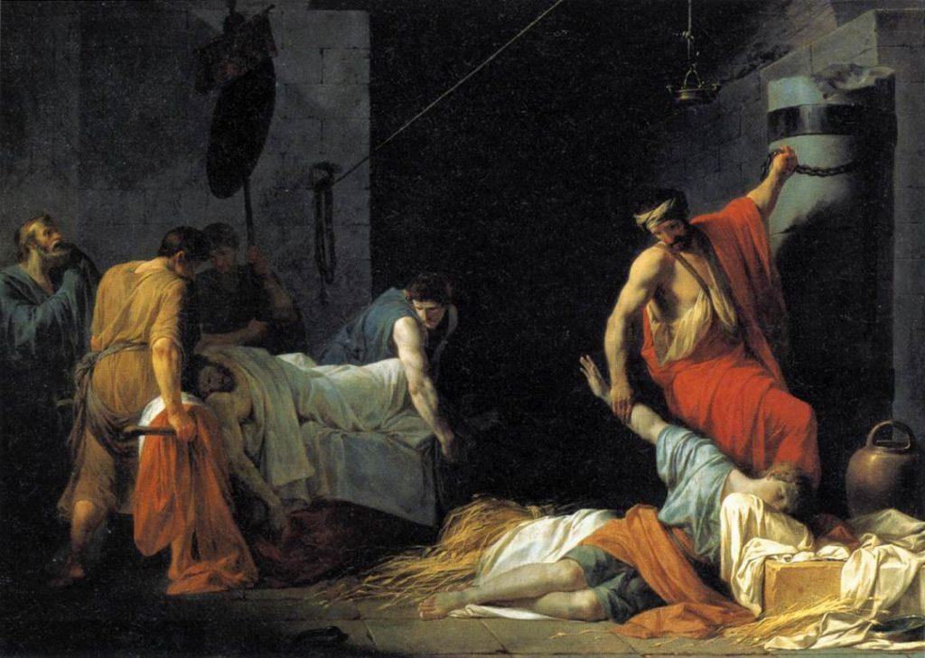 Pogrzeb Miltiadesa na obrazie Jeana-Françoisa Pierre'a Peyrona (domena publiczna).