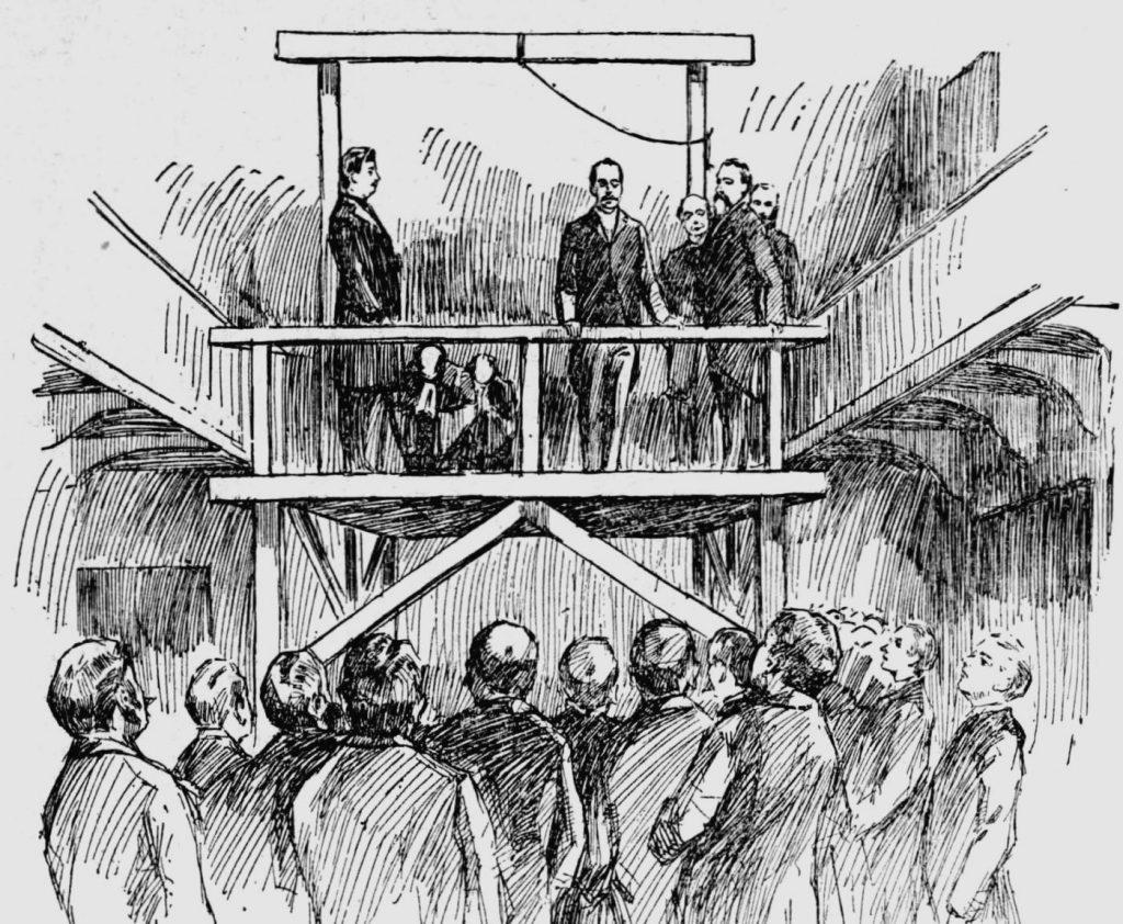 Rysunek Hermana W. Mudgetta przedstawiający egzekucję Holmesa (domena publiczna).