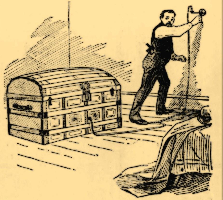 Rysunek prasowy przedstawiający Holmesa mordującego za pomocą gazu Alice i Nellie (domena publiczna).