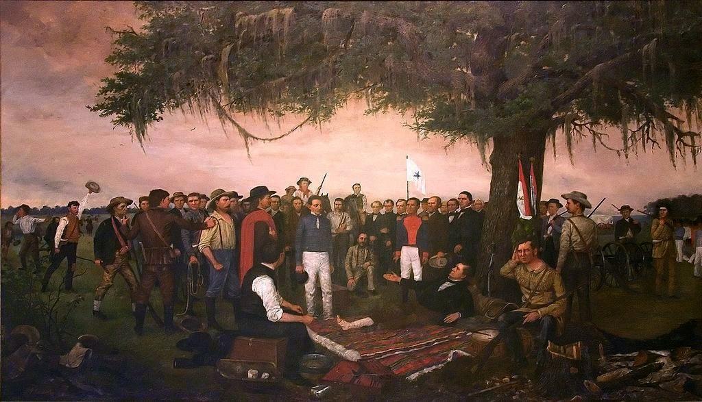 Santa Anna poddaje się Samowi Houstonowi (William Henry Huddle/domena publiczna).