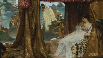 Spotkanie Kleopatry z Markiem Antoniuszem. Obraz Lawrence'a Almy-Tademy