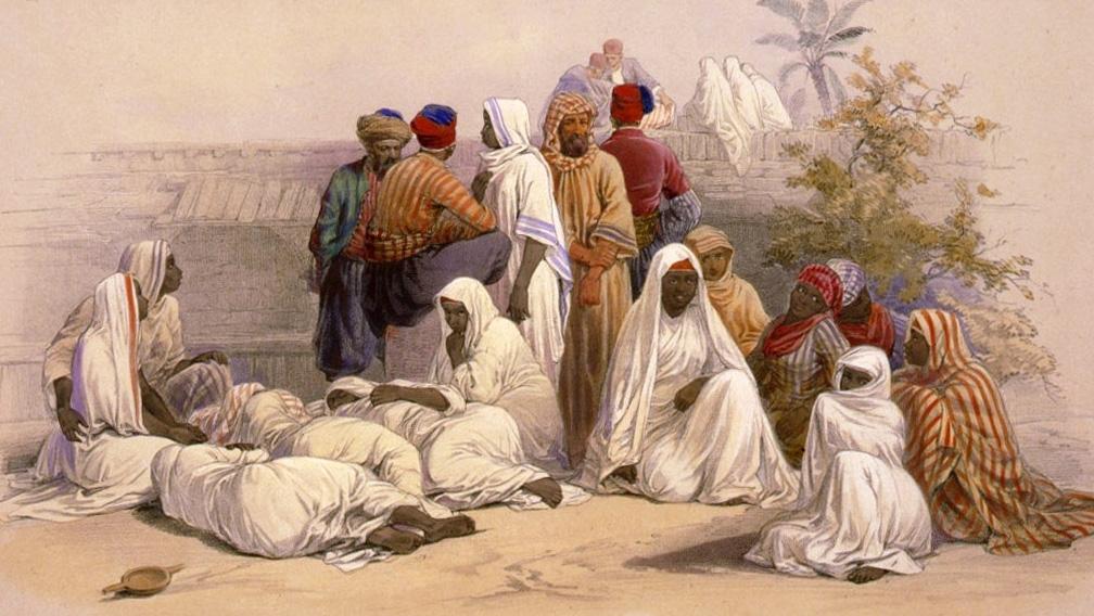 Targ niewolników w Kairze. Grafika XIX-wieczna.