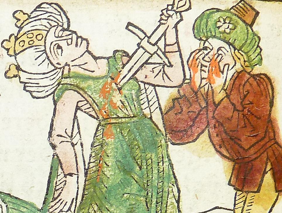 Drzeworyt z XVI wieku przedstawiający Edypa i Jokastę (domena publiczna).