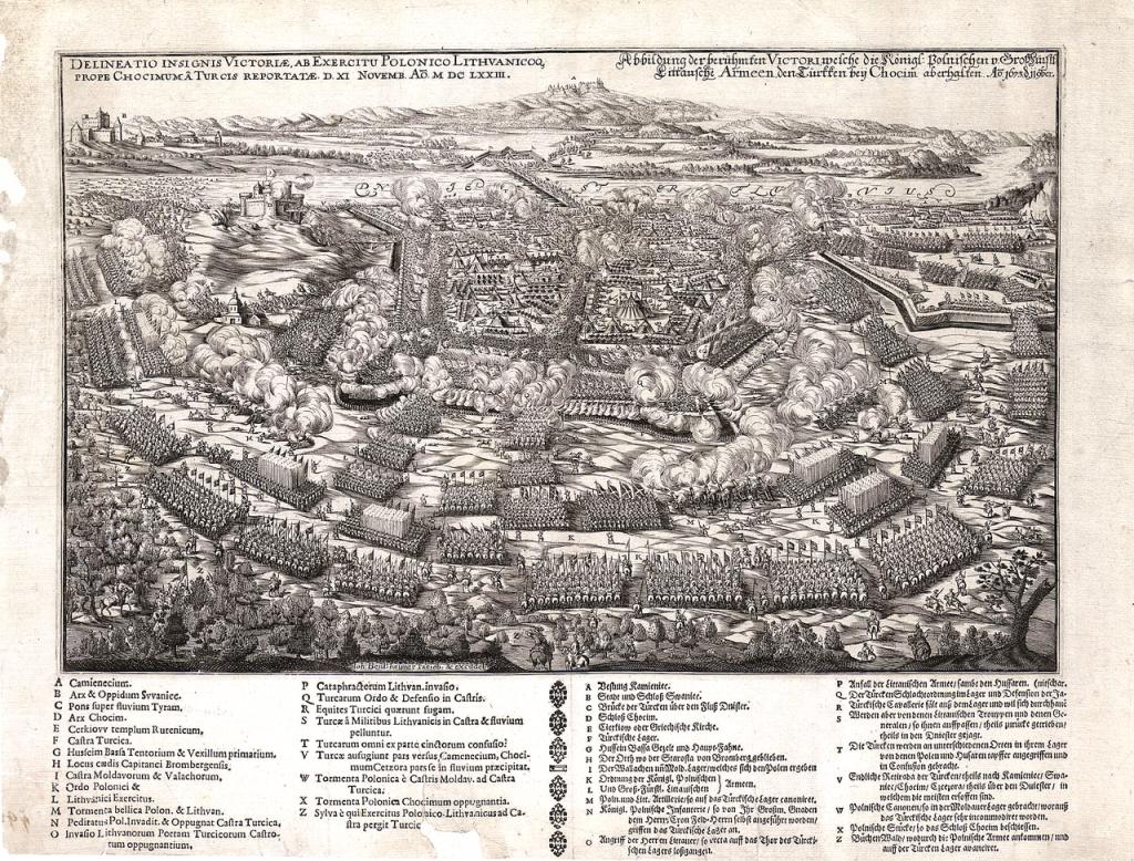 XVII-wieczne przedstawienie bitwy pod Chocimiem (domena publiczna).
