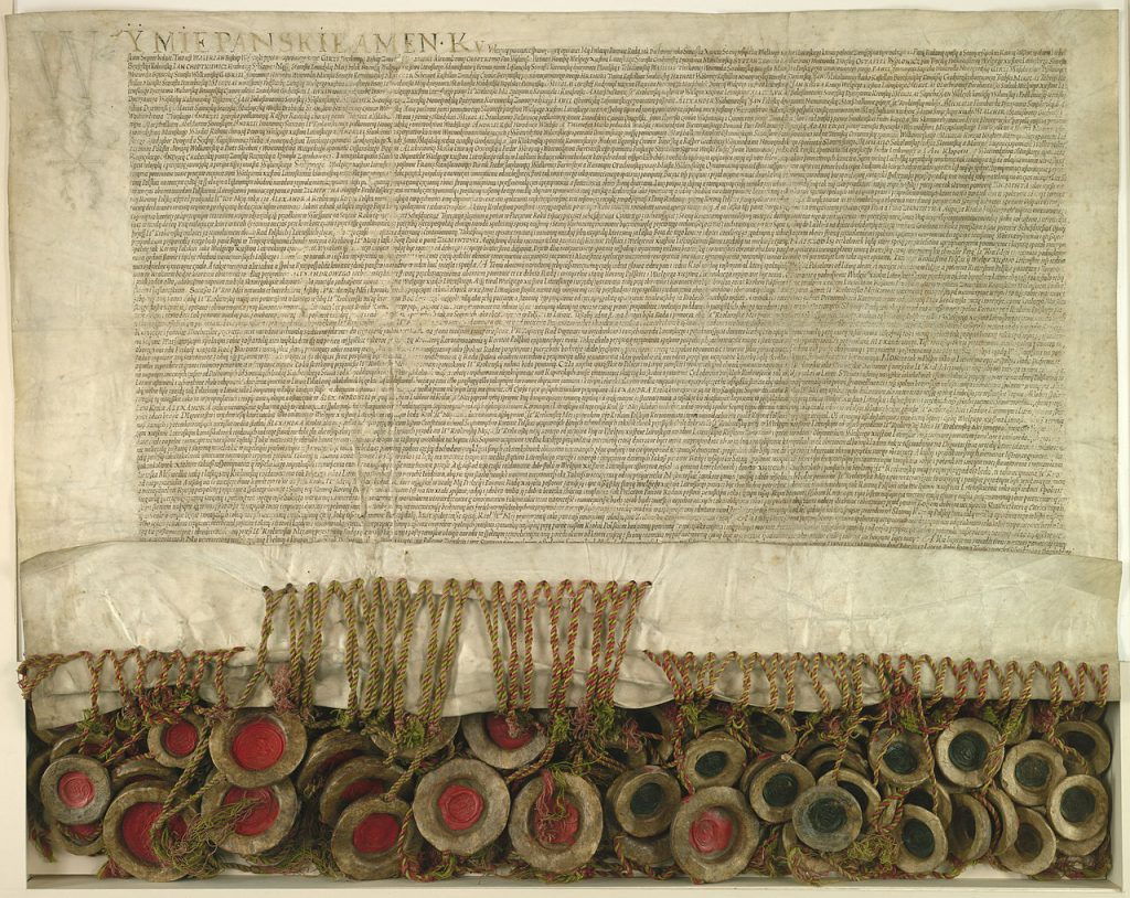 Akt Unii Lubelskiej z 1 lipca 1569 roku (domena publiczna).
