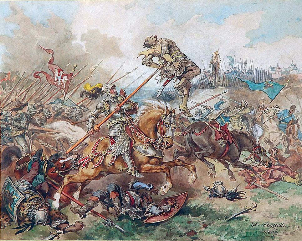 Bitwa pod Suczawą na akwareli Juliusza Kossaka (domena publiczna).