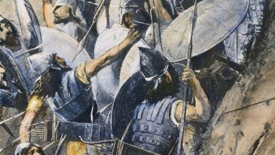 Bitwa pod Termopilami. Grafika z początku XX wieku.