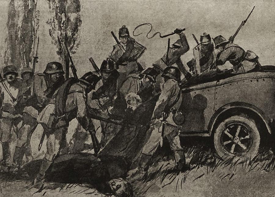 Bojówki niemieckie znęcające sie nad Polakami.