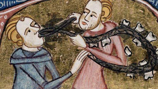 Dentysta ze sznurem zębów. Miniatura z XIV wieku.