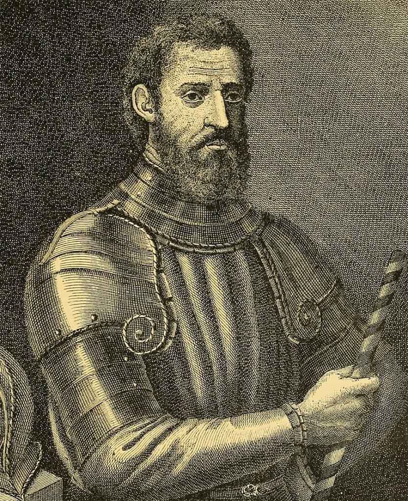Giovanni da Verrazzano na XVIII-wiecznej rycinie.