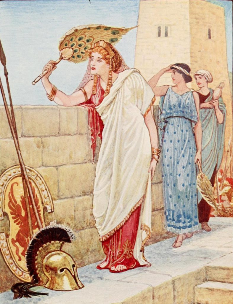 Helena na murach Troi (Walter Crane/domena publiczna).