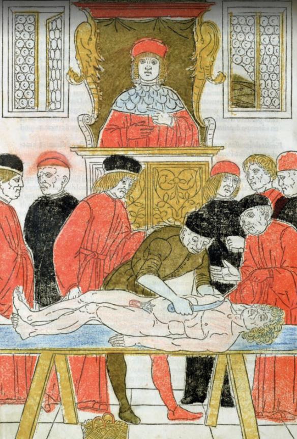 Ilustracja z XV-wiecznej drukowanej kopii traktatu anatomicznego Liuzziego.