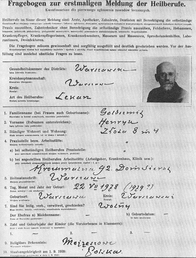 Karta ewidencyjna Janusza Korczaka wystawiona w 1940 roku (domena publiczna).