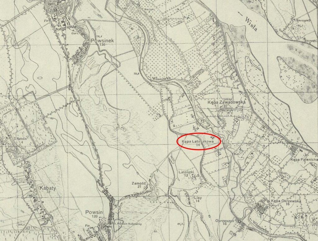 Kępa Latoszkowa na mapie Wojskowego Instytutu Geograficznego z 1931 roku (domena publiczna).