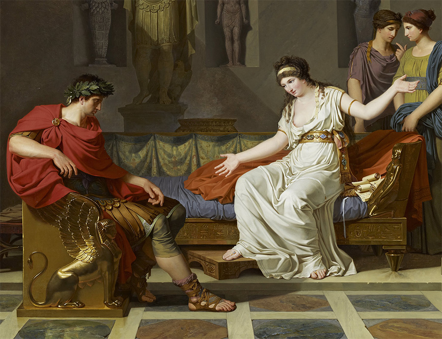 Kleopatra i Oktawian. Obraz Louisa Gauffiera z 1787 roku.