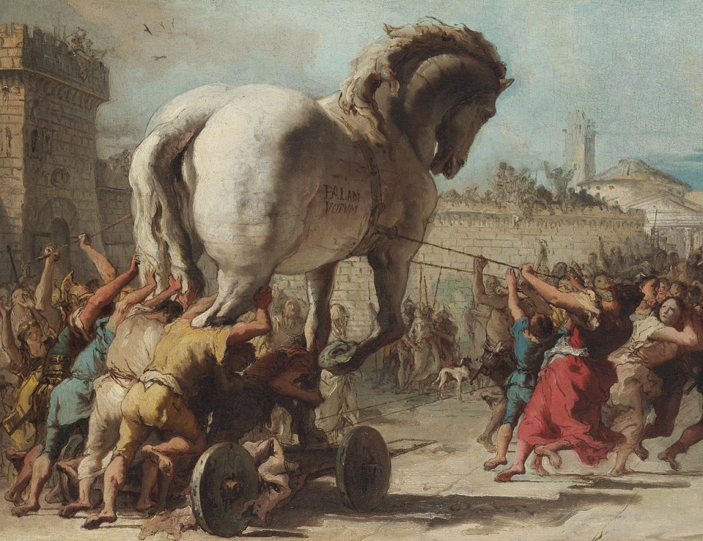 Koń trojański na obrazie Giovanniego Domenico Tiepoli (domena publiczna).