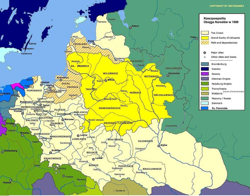 Na mocy decyzji Zygmunta Augusta do Korony przyłączono znaczne obszary Wielkiego Księstwa Litewskiego ((Halibutt/CC BY-SA 3.0).