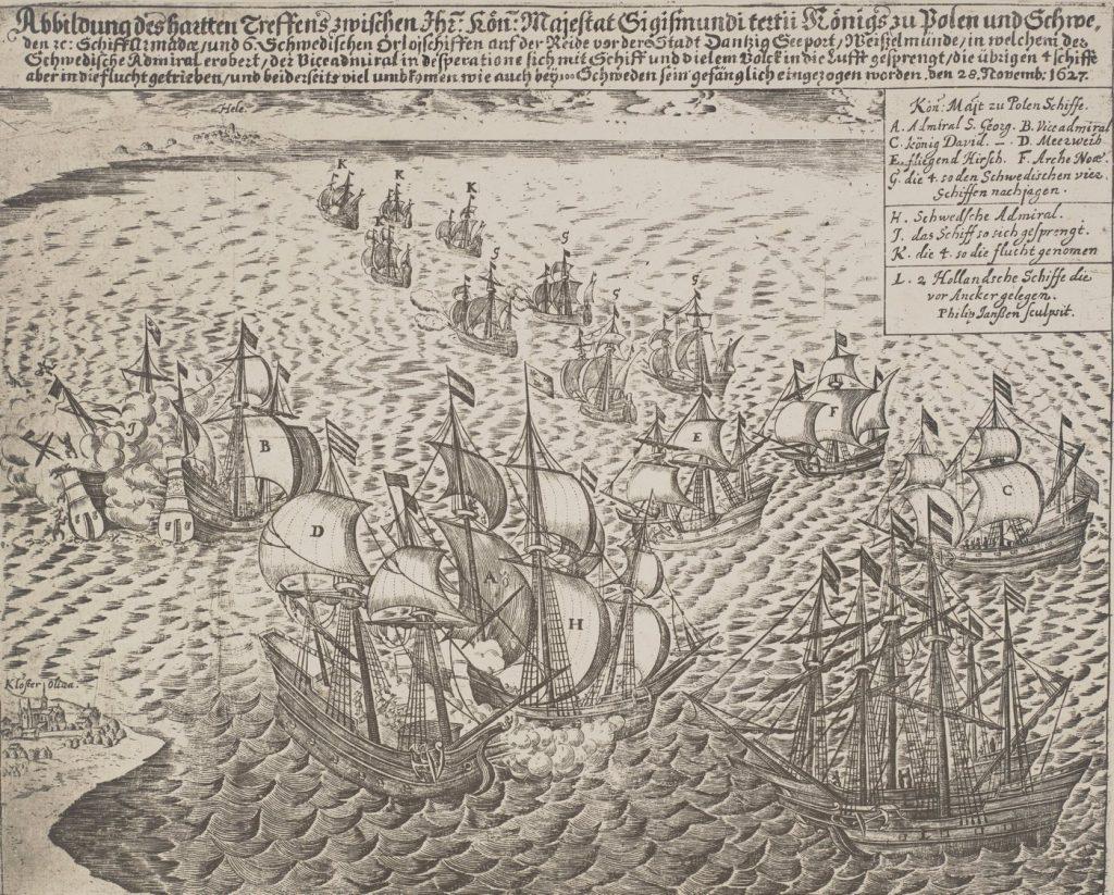 """O losie jaki spotkał załogę """"Rączego Jelenie"""" (na ilustracji oznaczony literą """"E"""" polska strona dowiedziała się dopiero jesienią 1629 roku (domena publiczna)."""